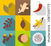 herbs and spices icon set. flat ... | Shutterstock . vector #1087105775