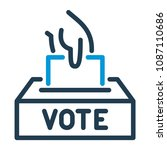 vote line icon. hand putting... | Shutterstock .eps vector #1087110686