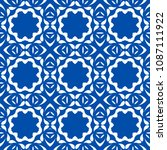 blue floral pattern with simple ... | Shutterstock . vector #1087111922
