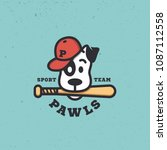 dog mascot for a baseball team. ...   Shutterstock .eps vector #1087112558