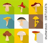 edible mushrooms icon set. flat ... | Shutterstock . vector #1087114376