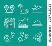 travel related set of 9 icons... | Shutterstock .eps vector #1087118216