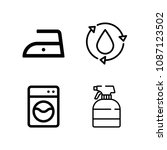outline washing icon set such... | Shutterstock .eps vector #1087123502