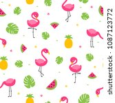 tropical colorful flamingo... | Shutterstock .eps vector #1087123772