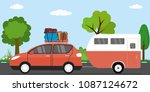 modern red car with luggage on... | Shutterstock .eps vector #1087124672