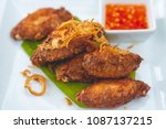 fried chicken in a white dish...   Shutterstock . vector #1087137215