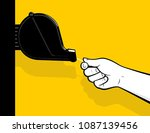 pulling queue number from...   Shutterstock .eps vector #1087139456