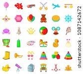 painting icons set. cartoon... | Shutterstock . vector #1087142672