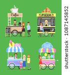 street fast food from carts... | Shutterstock .eps vector #1087145852