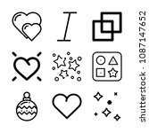 outline set of 9 shapes icons... | Shutterstock .eps vector #1087147652