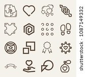 set of 16 shapes outline icons... | Shutterstock .eps vector #1087149332