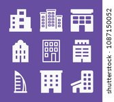 filled set of 9 apartment icons ... | Shutterstock .eps vector #1087150052