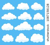 cartoon clouds isolated on blue ... | Shutterstock .eps vector #1087158128