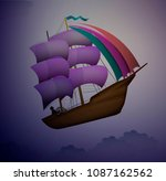 ship in the evening sky in... | Shutterstock .eps vector #1087162562