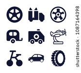 set of 9 vehicle filled icons... | Shutterstock .eps vector #1087164398