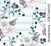 watercolor flowers on stripes... | Shutterstock . vector #1087166162