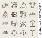 set of 16 working outline icons ... | Shutterstock .eps vector #1087166312