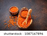 bowl with red lentils on rusty... | Shutterstock . vector #1087167896