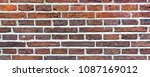 red brick wall or masonry  wide ... | Shutterstock . vector #1087169012