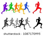 running race competition  | Shutterstock .eps vector #1087170995