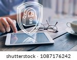 cyber security on internet... | Shutterstock . vector #1087176242