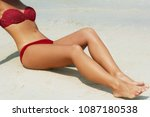 sexy suntan bikini woman legs...   Shutterstock . vector #1087180538