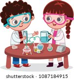 a girl and a boy students in... | Shutterstock .eps vector #1087184915