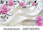 fabric wallpaper with pink... | Shutterstock . vector #1087185392