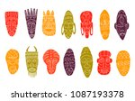 set of hand drawn tribal masks. ... | Shutterstock .eps vector #1087193378