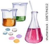 beakers clinic pharmacy set....   Shutterstock . vector #1087196312