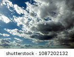 blue sky with clouds. white... | Shutterstock . vector #1087202132