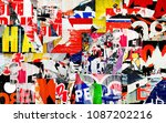 old collage ripped torn posters ... | Shutterstock . vector #1087202216