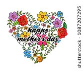 floral heart with happy mother...   Shutterstock .eps vector #1087207295
