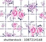 roses pattern on squared...   Shutterstock .eps vector #1087214168