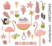 summer set with flamingo ... | Shutterstock .eps vector #1087220465