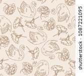 vector seamless pattern with... | Shutterstock .eps vector #1087221095