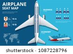 chart airplane seat  plan  of... | Shutterstock .eps vector #1087228796