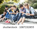 group of young students with... | Shutterstock . vector #1087232855