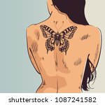 girl with tattoo. woman turned... | Shutterstock .eps vector #1087241582