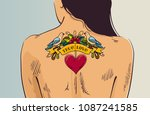 girl with romantic tattoo.... | Shutterstock .eps vector #1087241585