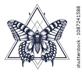 butterfly tattoo. dotwork... | Shutterstock .eps vector #1087241588