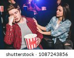 guy is sitting in chair and... | Shutterstock . vector #1087243856