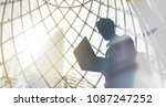 silhouette of young man with... | Shutterstock . vector #1087247252