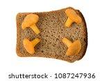 four mushrooms chanterelles on...   Shutterstock . vector #1087247936