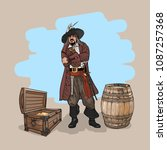 pirate with a hat and a cutlass ...   Shutterstock .eps vector #1087257368