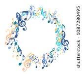 round frame of musical symbols. ...   Shutterstock .eps vector #1087280495
