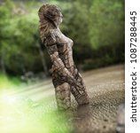 creature of the deep emerging... | Shutterstock . vector #1087288445