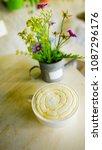 honey milk hot drink with milk... | Shutterstock . vector #1087296176