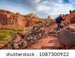 senior women hiking the cohab... | Shutterstock . vector #1087300922