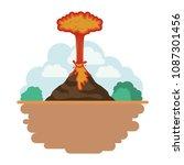 erupting volcano with landscape ...   Shutterstock .eps vector #1087301456